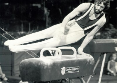 Dave Marshall Leeds Gymnast competing at Champions Hall at the Royal Albert Hall, 1979 - photo by Alan Burrows