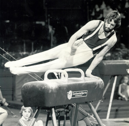 Dave Marshall Leeds Gymnast competing at Champions Hall at the Royal Albert Hall, 1979 - photo by Alan Burrows