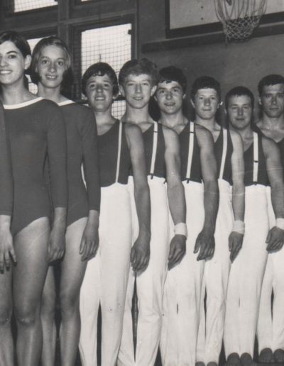 From front: Penny ???, Janet ??? 3rd back. The boys/men in order at the back are: Dave Marshall, Morgan Smith, John White, Stephen Hill,Tony Harrison, John Childs and Dick Gradley circa 1969