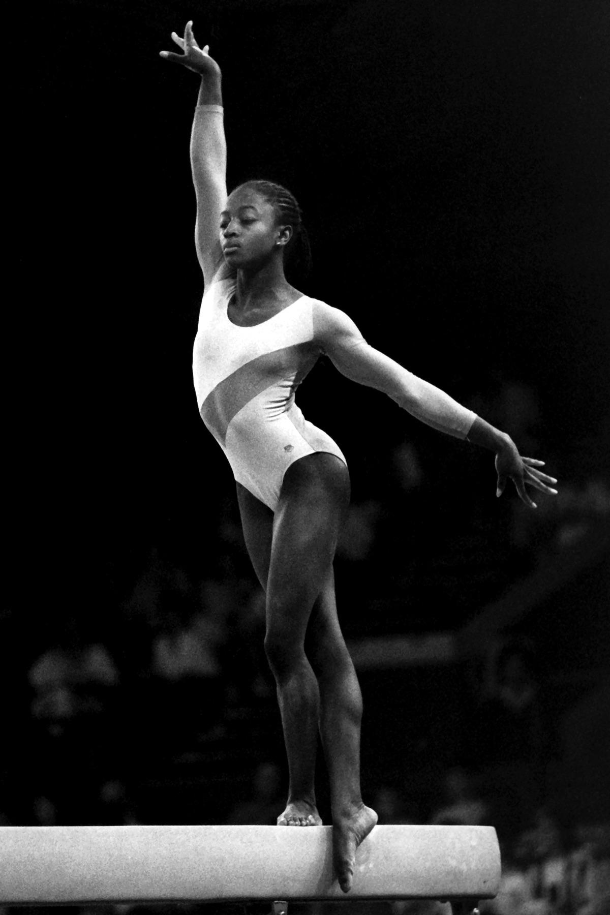 Kathy Williams competing on Balance Beam at the Royal Albert Hall