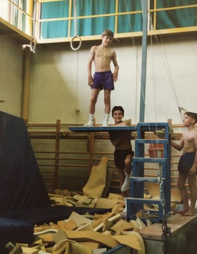 Matthew Hewitt and Aidan Brindle at a training camp in Budapest in 1993
