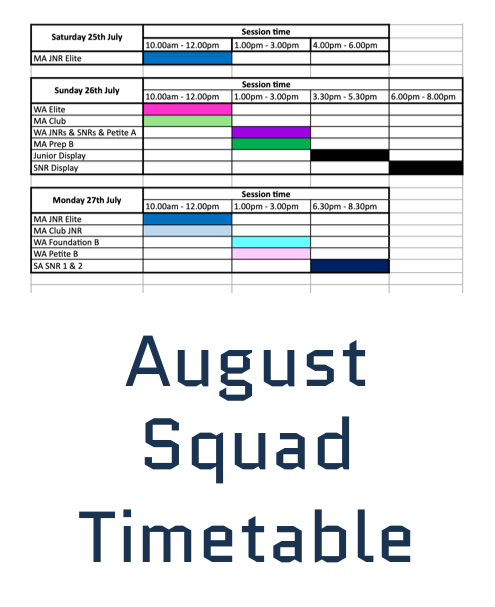 july squad timetable
